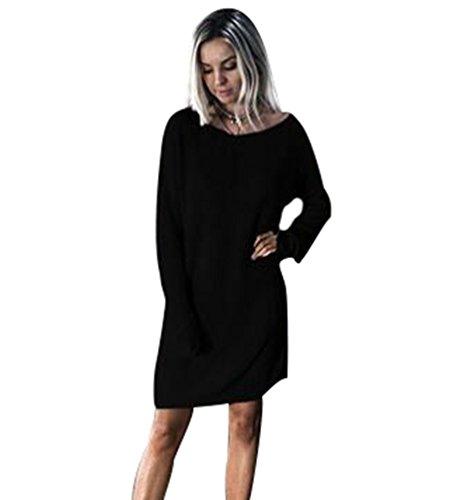 NiSeng Vestito in Maglia Donna Casual Vestiti Eleganti Maglioni Il Collo Rotondo Maniche Lunghe Maglina Abito Nero S