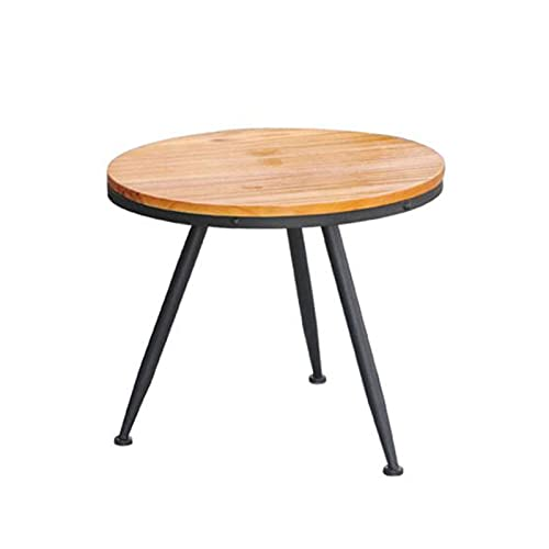 N\C Table Loft American Retro Industrial Style Round Coffee Table, Screw Assembly, Living Room Leisure Overlapping Side Tables, Pine, 2 Sizes for Living Room Bedroom