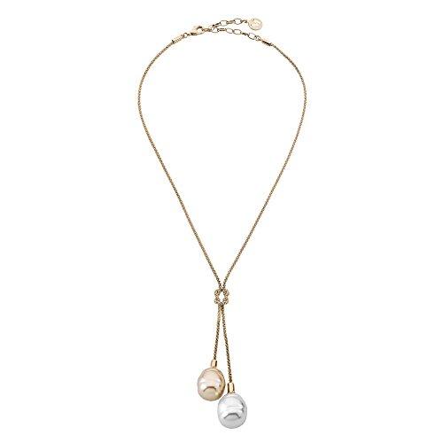 Majorica - Collar Corto de 48 cm, 14 mm Barroco Perlas Blancas y champán