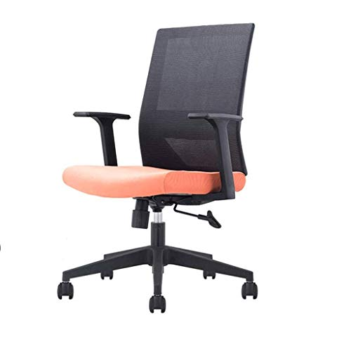 ZXL Office Chair Computer Desk Chair Gaming - Ergonomic Mid Back Cushion Lumbar Support with Wheels Comfortable Mesh Racing Seat Adjustable Swivel Rolling Home Executive (Color : Orange)
