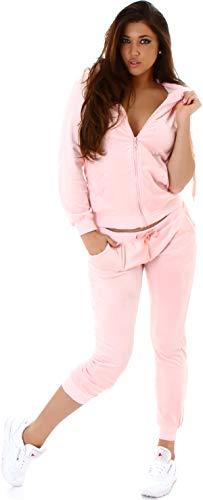 Jela London Damen Nicki Hausanzug Jogginganzug Velours Samt Jogginghose Freizeithose Kordel Tunnelzug Jacke, Rosé 38 40 (L)