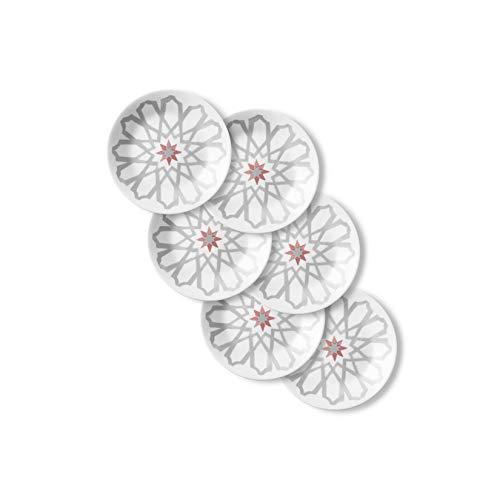 Corelle Chip Resistant Appetizer Plates, 6-Piece, Amalfi Rosa