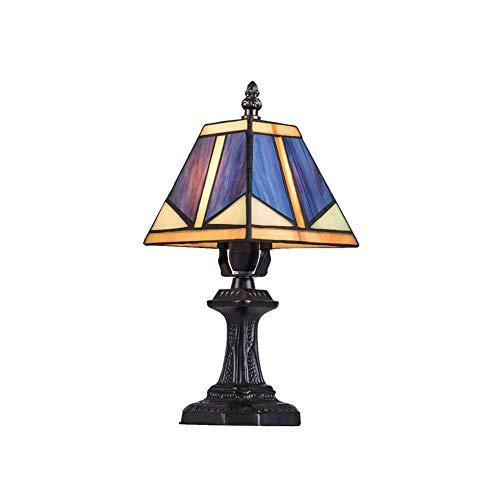FGART Lámpara de mesaLámpara De Tiffany Mesa, Lámpara De Mesa De Cristal De Color Leah Tiffany Estilo Vintage, Utilizar En El Dormitorio, Sala De Estar, Mesa De Café, Librería ✅