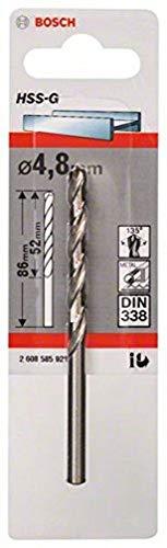 BOSCH Punte per metallo HSS-G, DIN 338, 4,8 x 52 x 86 mm, 1 pcs