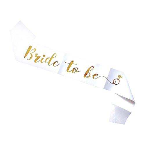 D DOLITY Bride To Be Addio Al Nubilato Hen Party Nuziale Doccia Satin Sash Girls Night Out Gift - bianca, Taglia unica