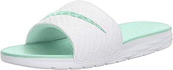 Nike Womens Benassi Solarsoft Sandals White Artisan Teal Size 12