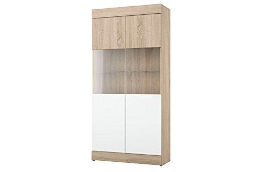 LIQUIDATODO - Vitrina de 2 puertas moderna y barata en color cambrian y blanco