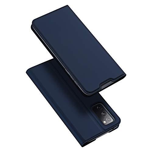DUX DUCIS Hülle für Samsung Galaxy S20 FE, Leder Klappbar Handyhülle Schutzhülle Tasche Hülle mit [Kartenfach] [Standfunktion] [Magnetisch] für Samsung Galaxy S20 FE (Blau)