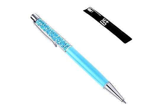 Bolígrafo de calidad con cristales de Swarovski - Relleno y bolsa de la pluma INCLUIDOS (Azul claro)