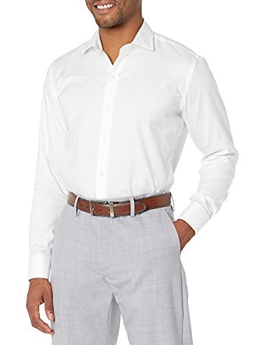 Marque Amazon - Buttoned Down Chemise à manches courtes, en coton Supima, col Italien, coupe ajustée, poignets mousquetaires, sans repassage, pour homme, Blanc (white), 15.5' Cou 34' Manche