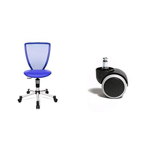 Topstar 71487S18 Titan Junior, Schreibtischstuhl, blau & 6991 Rollenset, Hartbodenrollen für Bürostuhl, Rollenset = 5 Rollen für Schreibtischstuhl, schwarz, Stiftgröße 10mm, Durchmesser 50mm