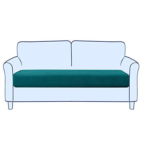 Subrtex - Funda para sofá elástica y suave para proteger el cojín del asiento del sofá, lavable (2 plazas, azul y verde)