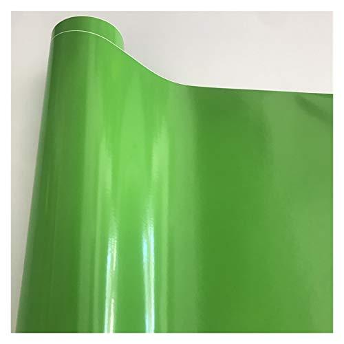 Carbon Folie 10/20/30/40/50 * 152cm Schwarz Glanzvinylfilm Glanz Glänzend Auto-Verpackungs-Folien-Aufkleber mit Luft-Blase Kostenloses Motorrad Car Wrapping Folie Auto (Color Name : Apple Green)