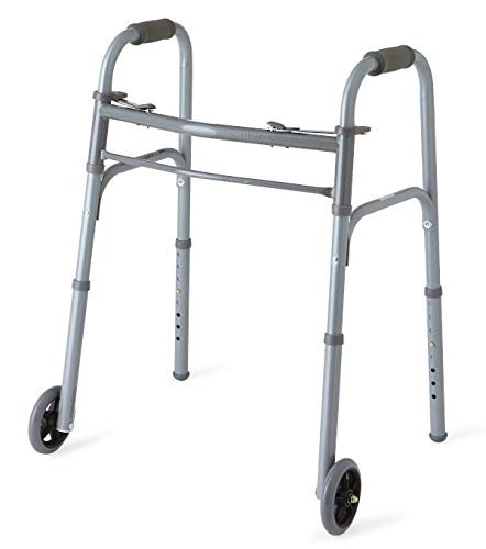 "Medline Junior Two-Button Folding Walker with 5"" Wheels, For Users 4'6"" to 5'5"""