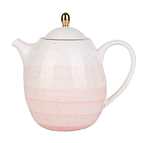 Im europäischen Stil Phnom Penh Keramik Teekanne Haushaltsgroßraum-Filter Kettle Teekanne Kaffeekanne mit Edelstahl-Filter (Color : Pink)