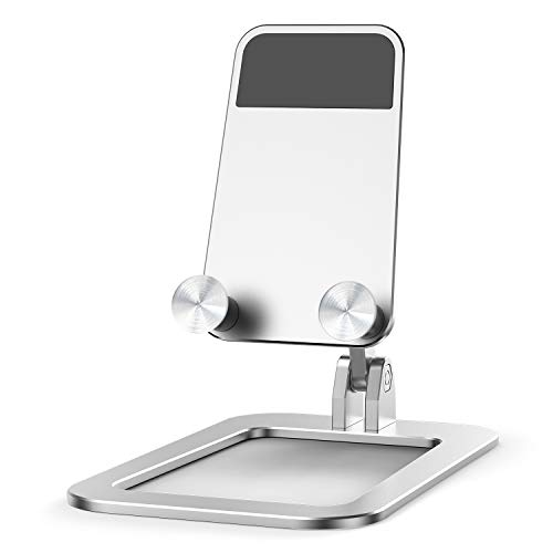 STALNACKER スマホスタンド 卓上 携帯電話スタンド アルミ合金 ホルダー 角度調整可能 滑り止め付き 折り畳み 軽量 持ち運びやすい iPhone iPad Android Nintendo Switch Kindleなど(4-7.9インチ)に対応 (銀)