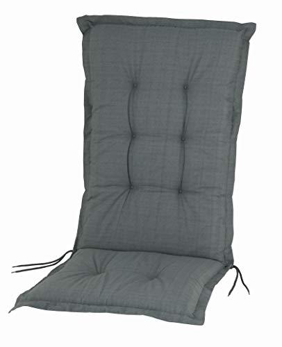 Hochlehner Gartenstuhl Auflage Deluxe Sitzauflage Stuhlauflage Hochlehnerauflage Gartenstuhlauflage Farbe: Basic Grau ca. 120 x 50 x 8 cm Made in Europe Sitzpolster Rückenkissen