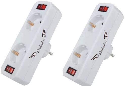 Acobonline-Adaptador 2 tomas con 2 interruptores,distribuidor de 2 tomas con interruptores,ladron con interruptor (2 TOMAS(2Unidades))