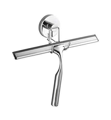 WENKO Vacuum-Loc® Duschabzieher - Badezimmerwischer, Befestigen ohne bohren, Stahl, 25 x 16 x 2 cm, Chrom