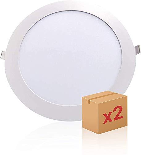 PACK X2,Panel LED Redondo, Downlight LED, Encastrar Extrafino de 20W con 2000 Lúmenes · 6000K Luz Blanca Fría, ECOMAX LED con 218mm de diámetro, Corte 195mm [Clase Energética A++]