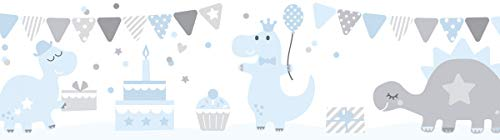 lovely label Bordüre selbstklebend DINOPARTY BLAU/GRAU - Wandbordüre Kinderzimmer/Babyzimmer mit Dinosauriern - Wandtattoo Schlafzimmer Mädchen & Junge – Wanddeko Baby/Kinder