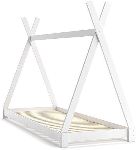 VitaliSpa Kinderbett Tipi Hausbett Indianer Bett Kinderhaus Massivholz Zelt Holz (Weiß, 90 x 200 cm)