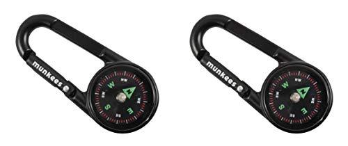 munkees Kompass-Karabiner mit Thermometer, Schlüsselanhänger, Funktions-Karabiner, Aluminium, 3135 (Doppelpack Schwarz)