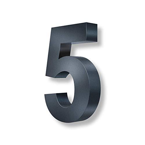 Metzler 3D Hausnummer in Anthrazit aus Stahl - Hausnummer mit Pulverbeschichtung in Feinstruktur 7016 Anthrazitgrau matt - Höhe 20cm / Tiefe 3,5 cm - inkl. Montagematerial - Ziffer 5