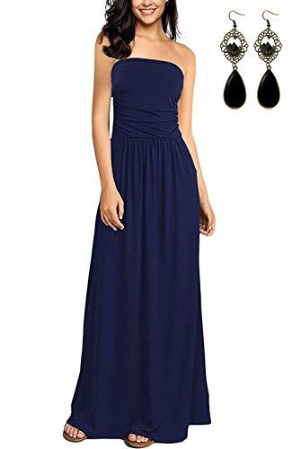 carinacoco Damen Bandeau Bustier Kleider mit Blüte Drucken Lange Sommerkleid Abendkleid Partykleid Cocktailkleid Blau Geblümt08