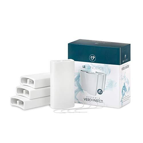 LE CONCIERGE® Heizkörper Luftbefeuchter [4er Set] - Keramik Wasserverdunster für die Heizung, Keramik Luftbefeuchter Heizkörper 350ml inclusive Haken