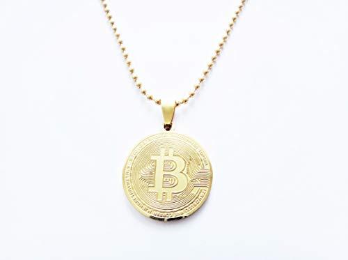 Edelschnitte Halskette Bitcoin Edelstahl/vergoldet Krypto BTC FOMO Mining Gadget Geschenk