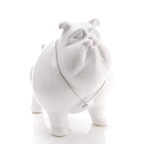 GIRL INSTITUTE XG-WU Sculpture Statue Sculpture Figurine Statuette,Large White Ceramic American Bulldog Dog Piggy Bank Home Decoration Crafts Room Decoration Kawaii Ornament Animal Statue Decoration