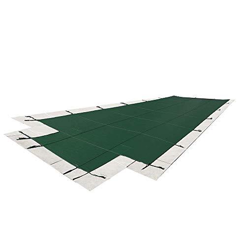 16`X32` 메쉬 - CES 직사각형 인그라운드 안전 풀 커버 - 4`X8` 센터 엔드 스텝이 있는 16피트 X 32피트 그라운드 겨울 커버(녹색)
