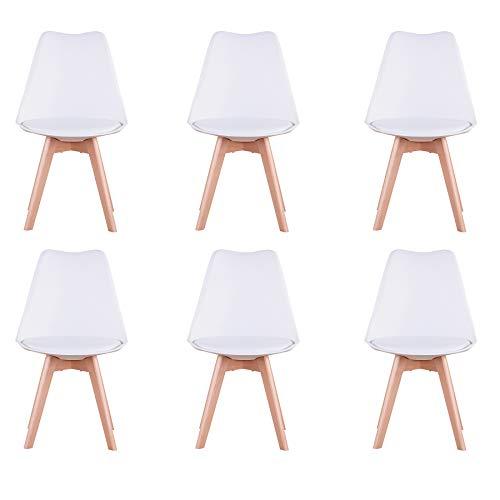 BenyLed - Juego de 6 sillas de comedor de tulipán con asiento tapizado y patas de madera de haya, ideal para comedor, cocina, salón, dormitorio, color blanco
