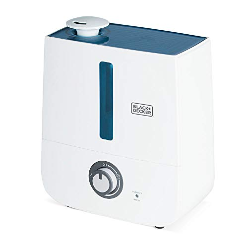 BLACK+DECKER 3L Ultrasonic Cool Mist Humidifier For Homes Nursery Bedroom Office, Whisper Quiet Operation, Automatic Shut Off, White
