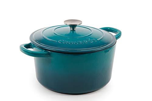 Crock-Pot Artisan Round Enameled Cast Iron Dutch Oven, 5-Quart, Teal Ombre