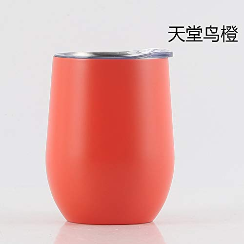 Heliansheng Vaso de Vino Tinto de Acero Inoxidable 304 de Doble Capa Frasco de vacío en Forma de U Taza de cáscara de Huevo de 12 oz -B Orange-12oz-G592