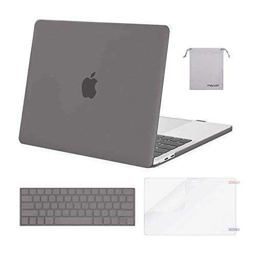 MOSISO Compatible with MacBook Pro 13 inch Case 2016-2020 Release A2338 M1 A2289 A2251 A2159 A1989 A1706 A1708, Plastic Hard Shell Case&Keyboard Cover Skin&Screen Protector&Storage Bag, Gray