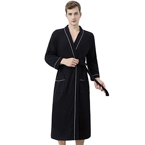 Jixin4you Albornoz para hombre, de algodón suave, con bolsillos para el hogar, spa, hotel