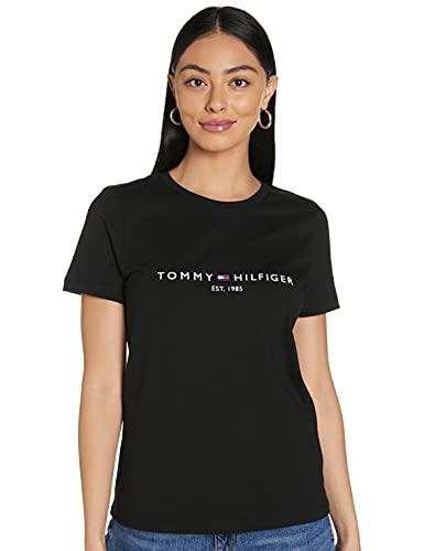 Tommy Hilfiger TH Ess Hilfiger C-nk Reg Tee SS Camicia, Black, S Donna