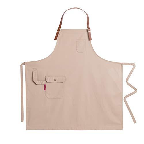 LPZ Delantal - Cuello Ajustable Cuello Cruzado Correas traseras largas con Bolsillos para Herramientas Guardapolvos de Cocina Cafetería Chef Cocina para Adultos (Color : Khaki)