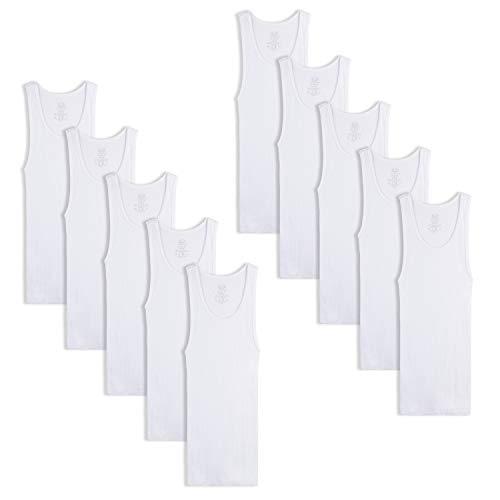 Fruit of the Loom Boys' Cotton Tank Top Undershirt (Multipack), Boys - 10 Pack - White, Medium