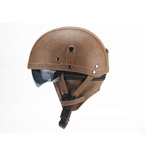GAOZ Casco de motocicleta retro para deportes al aire libre, aprobado por DOT, personalizado ligero Crash transpirable, unisex extraíble de piel con visera abierta