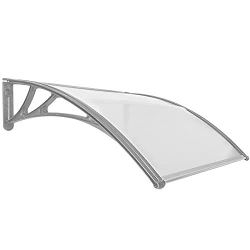 PrimeMatik - Tejadillo de protección 100x100cm Marquesina para Puertas y Ventanas Gris
