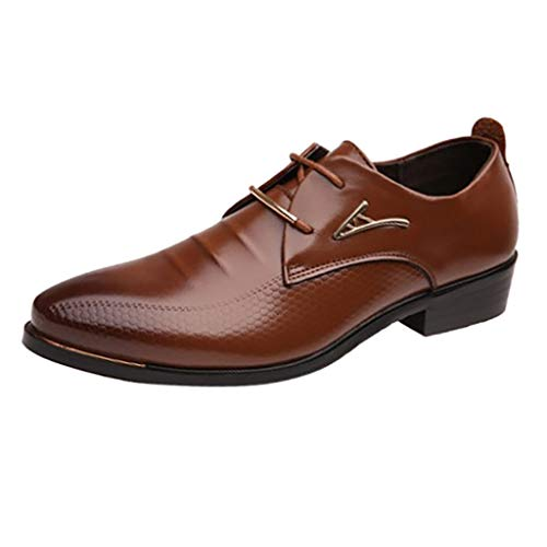 RQWEIN Mens Patent Leather Tuxedo Dress Shoes Modern Formal Lace up Pointed Toe Oxfords Brown