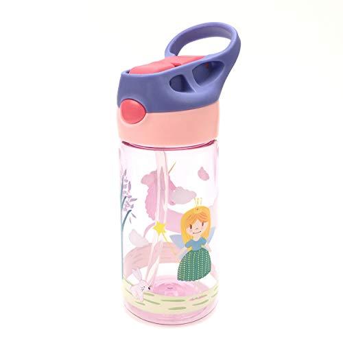 ZT Botella de Agua para Niño decoradas, 450ml, Botella a prueba de Fugas, Botella Agua con Pajitas, sin BPA. (PRINCESA)