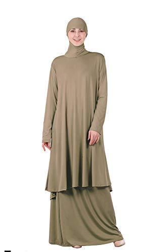 GladThink Musulmán Mujer Abaya Vestido Set Elegant Robe Top y Falda Camello XL
