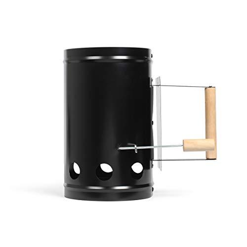 LIVOO DOC230 Grillanzünder Anzündkamin Anzündhelfer für Holzkohle Verzinkter Stahl mit Holzgriff (Grillkohleanzünder, 1 Liter, Grillstarter, Anzünder, Grillzubehör)