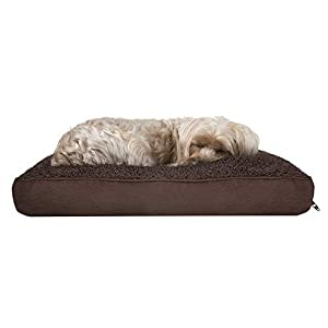 Furhaven Pet Dog Bed – Deluxe Snuggle Terry and Suede Pillow Cushion Traditional Mattress Pet Bed with Removable Cover for Dogs and Cats, Espresso, Small