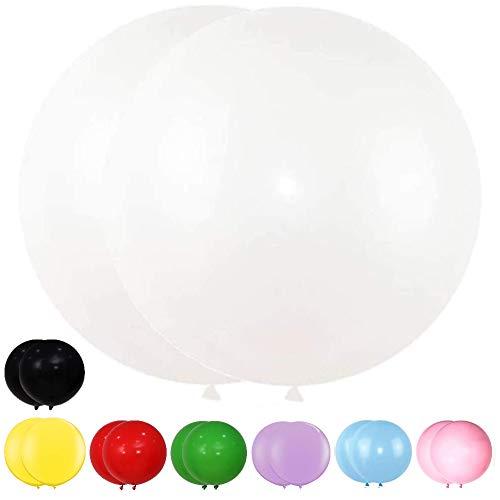 DIWULI, 2 globos gigantes XXL pastel gigantes de látex, colores pastel, para decoración de fiestas, bodas, color blanco